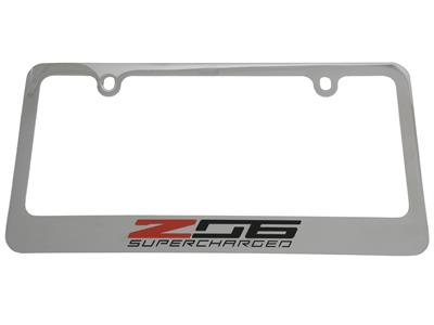 C7 Corvette Z06 14-19 License Plate Frame / Bezel - Z06 Logo, Chrome Frame