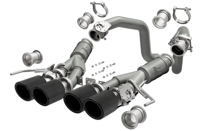 C7 Corvette Z06 MagnaFlow Competition Series Axle Back NPP Exhaust System, CF Quad Tip, Stainless Steel
